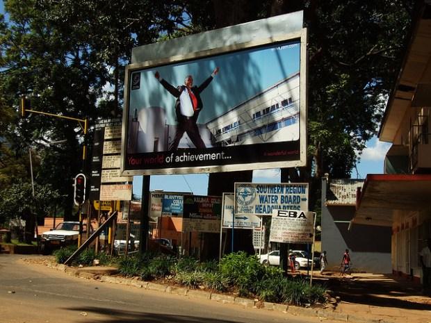 Mobile phone advert in Zomba, Malawi