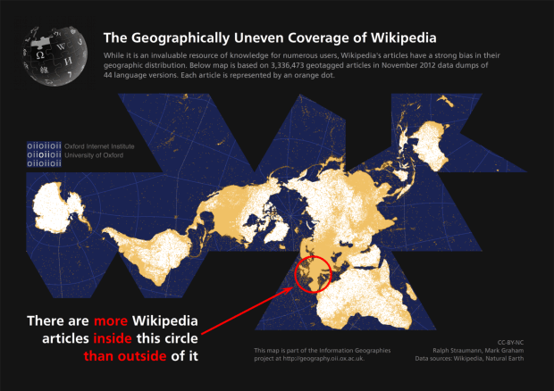 Areas of Wikipedia hegemony and uneven geographic coverage. Oxford Internet Institute