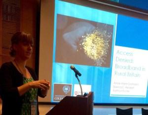 A very jet-lagged Bibi Reisdorf giving our talk on rural broadband in Britain