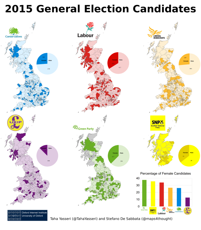 Geographical distribution of the 2015 general election candidates colour-coded by gender.