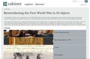 Screenshot of Remembering the First World War in 10 objects 'paper' in Cabinet