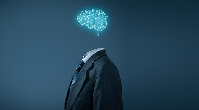 Corporate businessman with AI brain - corporate AI concept