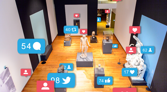 Ashmolean Museum with social media icons