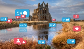 Whitby Abbey with Social Media icons