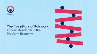 "Cover of the ""Five Pillars of Fairwork"" report"