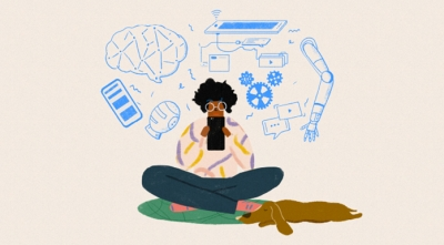 Cartoon depiction of a person sitting with dog using smartphone, surrounded by concept imagery of ai