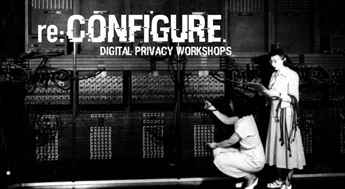 Black and white image of two women using an historic computer with text superimposed: re:Configure Digital Privacy Workshops