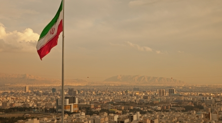 Iran flag over Tehran